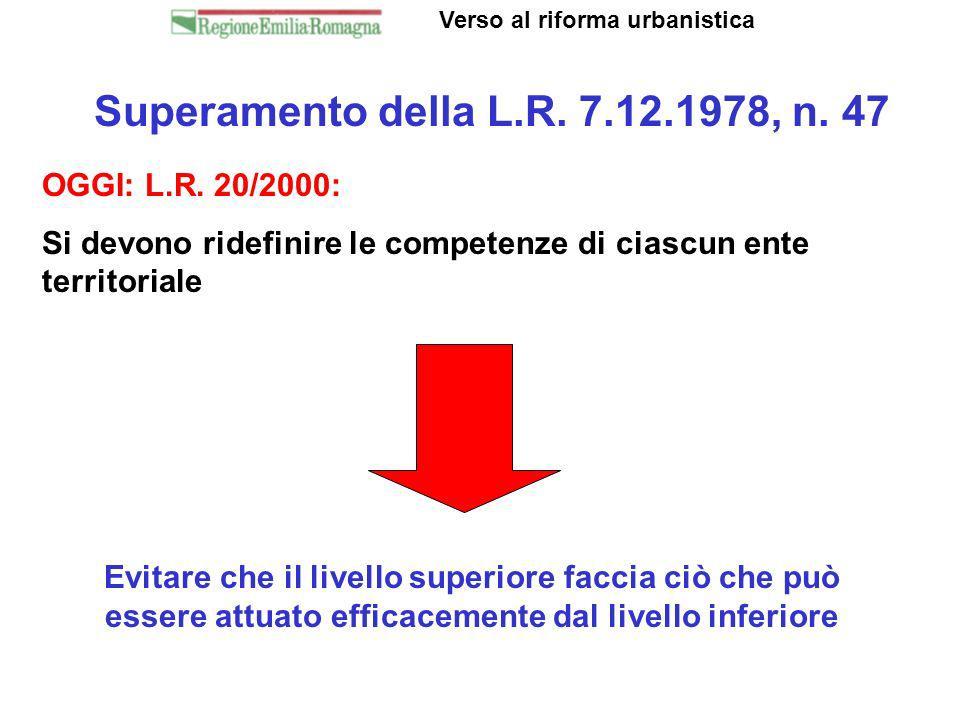 Superamento della L.R. 7.12.1978, n. 47 Verso al riforma urbanistica OGGI: L.R. 20/2000: Si devono ridefinire le competenze di ciascun ente territoria