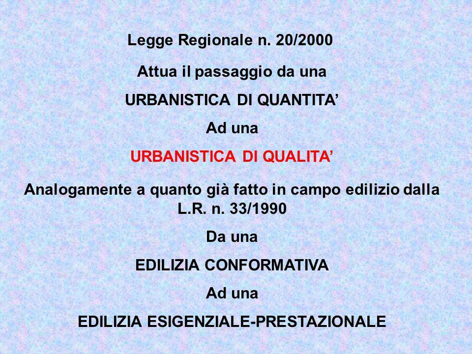 Legge Regionale n. 20/2000 Attua il passaggio da una URBANISTICA DI QUANTITA Ad una URBANISTICA DI QUALITA Analogamente a quanto già fatto in campo ed