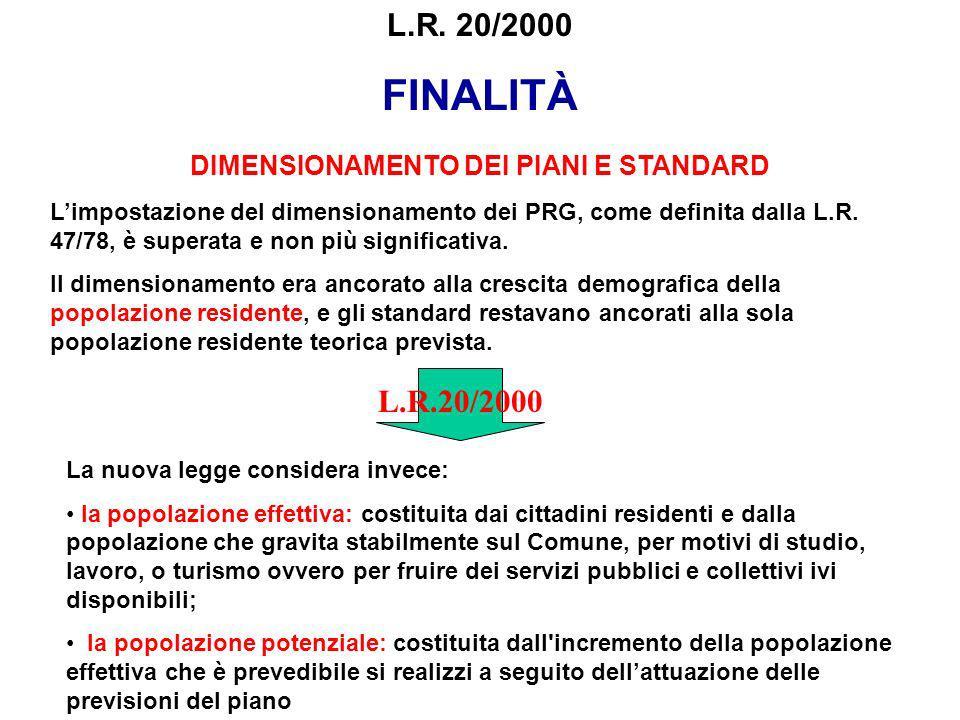 L.R. 20/2000 FINALITÀ DIMENSIONAMENTO DEI PIANI E STANDARD Limpostazione del dimensionamento dei PRG, come definita dalla L.R. 47/78, è superata e non