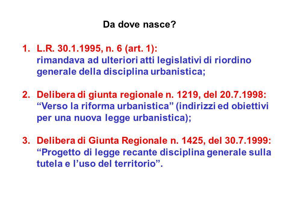 Da dove nasce? 1.L.R. 30.1.1995, n. 6 (art. 1): rimandava ad ulteriori atti legislativi di riordino generale della disciplina urbanistica; 2.Delibera