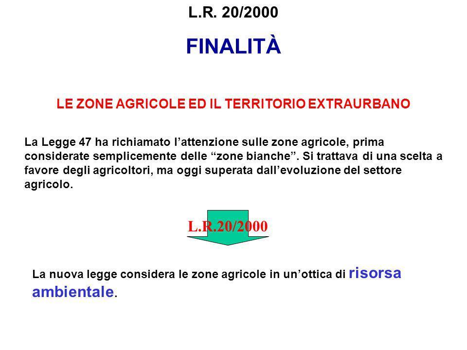 FINALITÀ LE ZONE AGRICOLE ED IL TERRITORIO EXTRAURBANO La Legge 47 ha richiamato lattenzione sulle zone agricole, prima considerate semplicemente dell