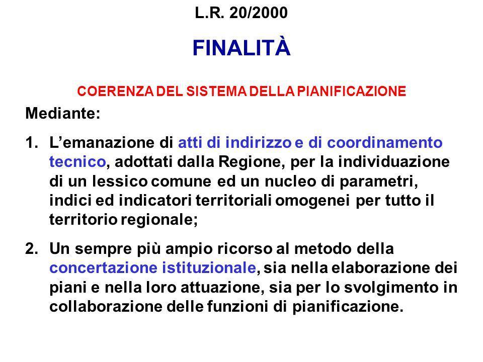 L.R. 20/2000 FINALITÀ COERENZA DEL SISTEMA DELLA PIANIFICAZIONE Mediante: 1.Lemanazione di atti di indirizzo e di coordinamento tecnico, adottati dall