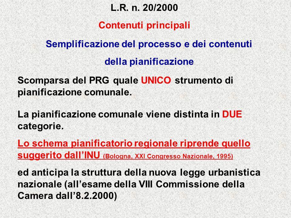 L.R. n. 20/2000 Contenuti principali Semplificazione del processo e dei contenuti della pianificazione Scomparsa del PRG quale UNICO strumento di pian