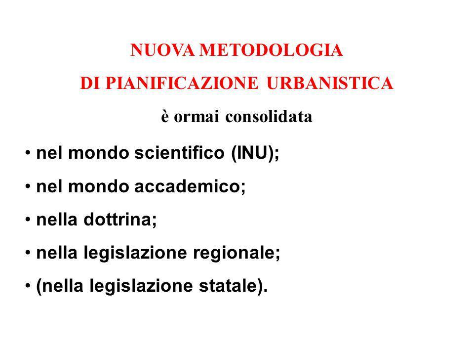 NUOVA METODOLOGIA DI PIANIFICAZIONE URBANISTICA è ormai consolidata nel mondo scientifico (INU); nel mondo accademico; nella dottrina; nella legislazi
