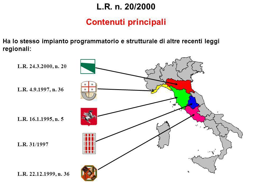 L.R. n. 20/2000 Contenuti principali Ha lo stesso impianto programmatorio e strutturale di altre recenti leggi regionali: L.R. 24.3.2000, n. 20 L.R. 4