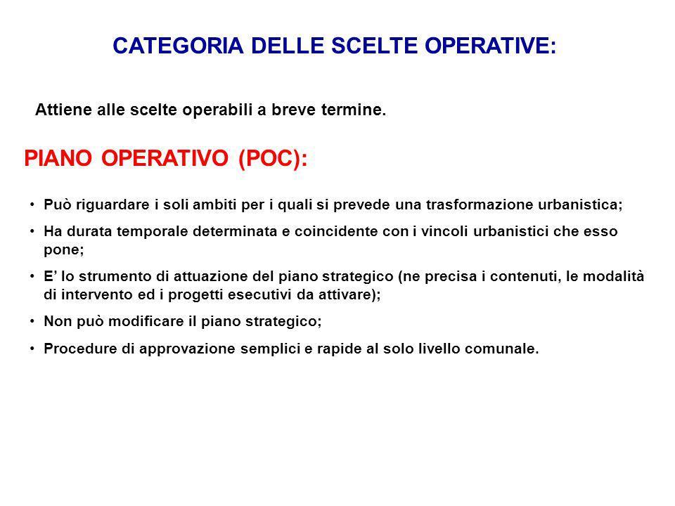 CATEGORIA DELLE SCELTE OPERATIVE: Attiene alle scelte operabili a breve termine. PIANO OPERATIVO (POC): Può riguardare i soli ambiti per i quali si pr