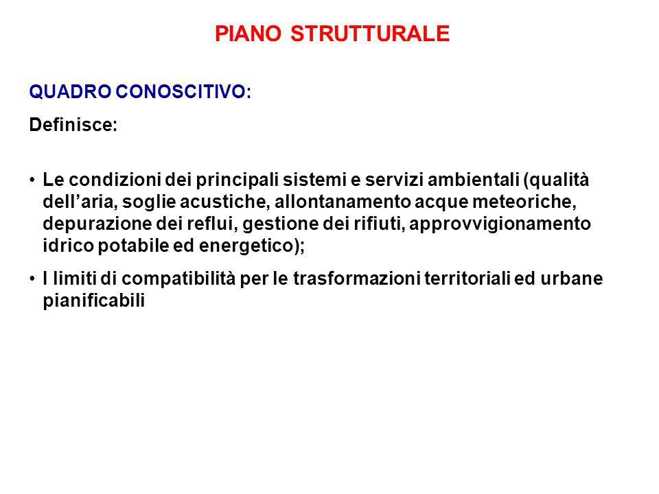 PIANO STRUTTURALE QUADRO CONOSCITIVO: Definisce: Le condizioni dei principali sistemi e servizi ambientali (qualità dellaria, soglie acustiche, allont