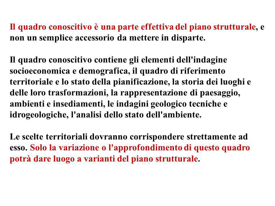 Il quadro conoscitivo è una parte effettiva del piano strutturale, e non un semplice accessorio da mettere in disparte. Il quadro conoscitivo contiene