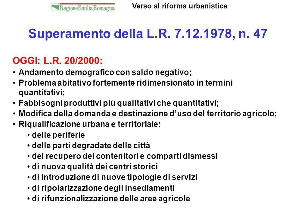 Superamento della L.R. 7.12.1978, n. 47 Verso al riforma urbanistica OGGI: L.R. 20/2000: Andamento demografico con saldo negativo; Problema abitativo