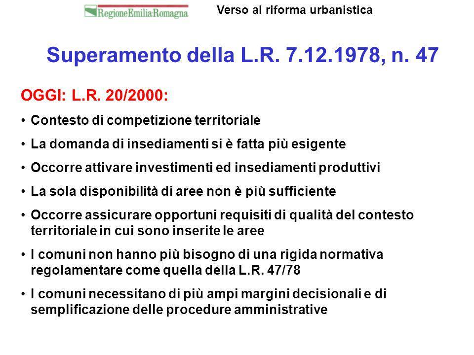 Superamento della L.R. 7.12.1978, n. 47 Verso al riforma urbanistica OGGI: L.R. 20/2000: Contesto di competizione territoriale La domanda di insediame