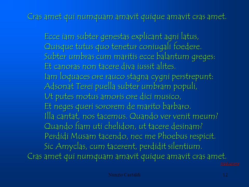 Nunzio Castaldi12 Cras amet qui numquam amavit quique amavit cras amet. Ecce iam subter genestas explicant agni latus, Ecce iam subter genestas explic
