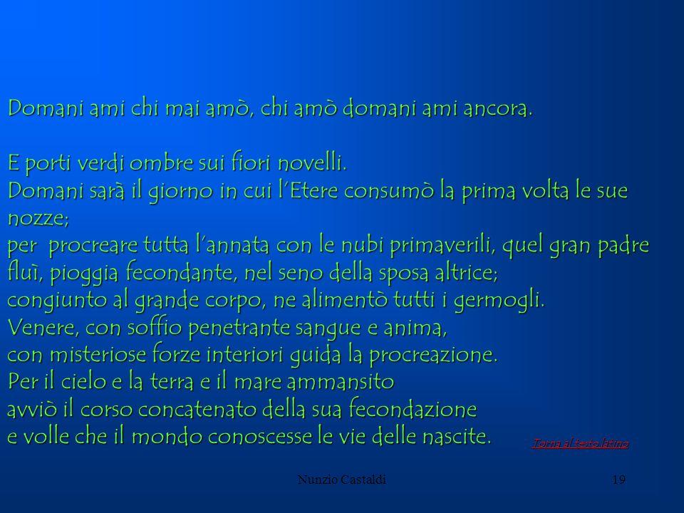 Nunzio Castaldi19 Domani ami chi mai amò, chi amò domani ami ancora. E porti verdi ombre sui fiori novelli. Domani sarà il giorno in cui lEtere consum