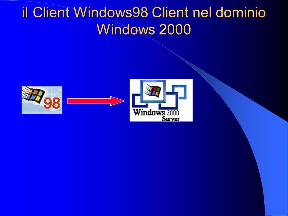 il Client Win98 nel dominio Windows 2000 Come primo passo è necessario configurare il sistema Windows98 per l appartenenza ad un Workgroup: 1) utilizzare lo stesso protocollo usato dal Win2000 Server PING 2) se si utilizza TCP/IP, assicurarsi che funzioni il PING al server Windows2000 dal sistema Windows98.