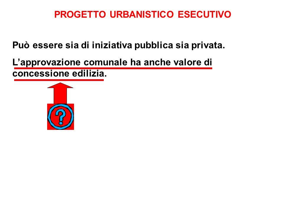 PROGETTO URBANISTICO ESECUTIVO Può essere sia di iniziativa pubblica sia privata.