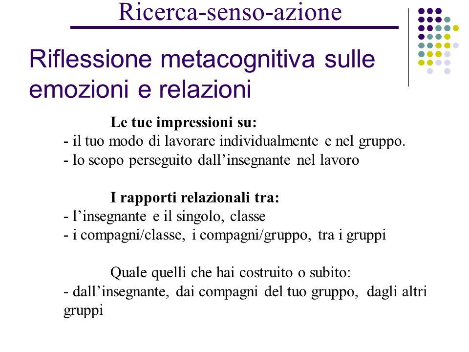 la RICERCA DEL senso DELLE AZIONI metacognizione sulle emozioni-relazioni metacognizione sui processi di apprendimento metacognizione sui processi organizzativi alcune risposte