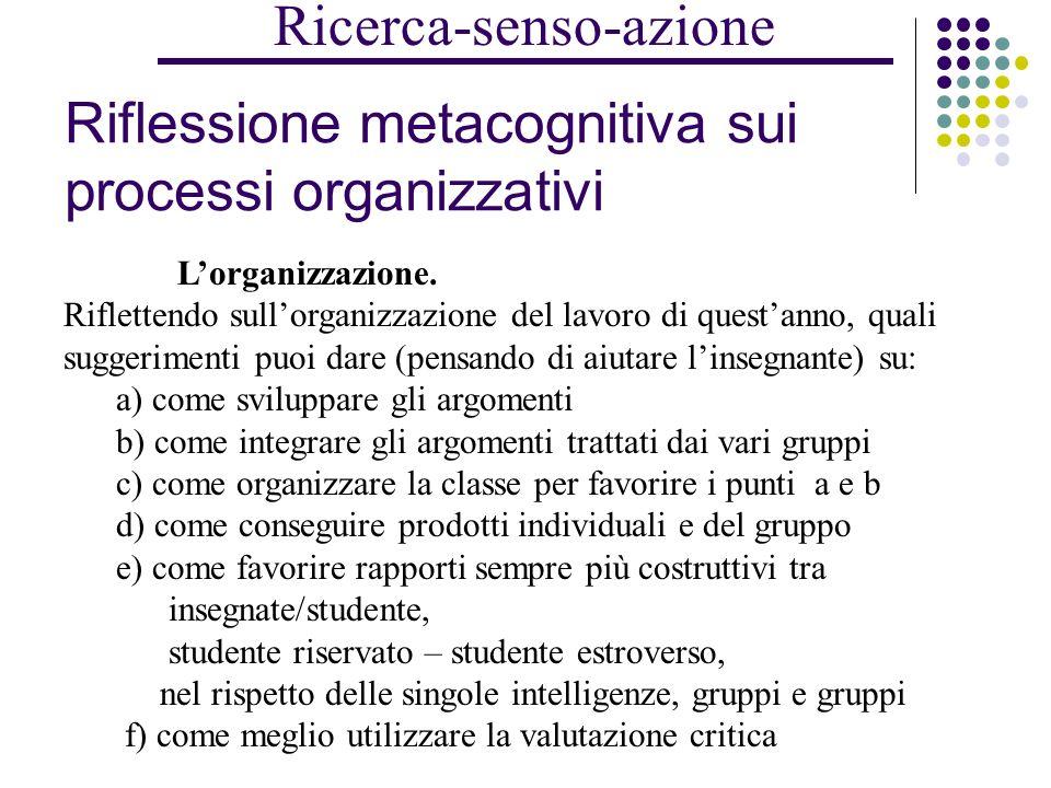 Riflessione metacognitiva sui processi di apprendimento Gli argomenti. Come sono stati trattati gli argomenti: - dallinsegnante - dal tuo gruppo - dag