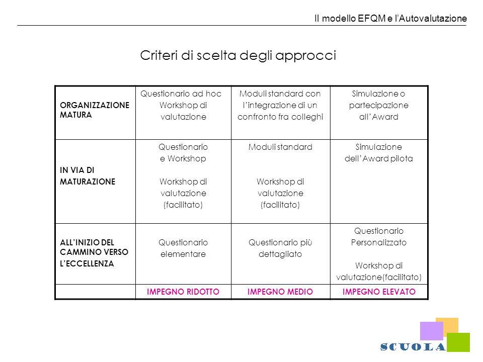 Il modello EFQM e lAutovalutazione Criteri di scelta degli approcci ORGANIZZAZIONE MATURA Questionario ad hoc Workshop di valutazione Moduli standard