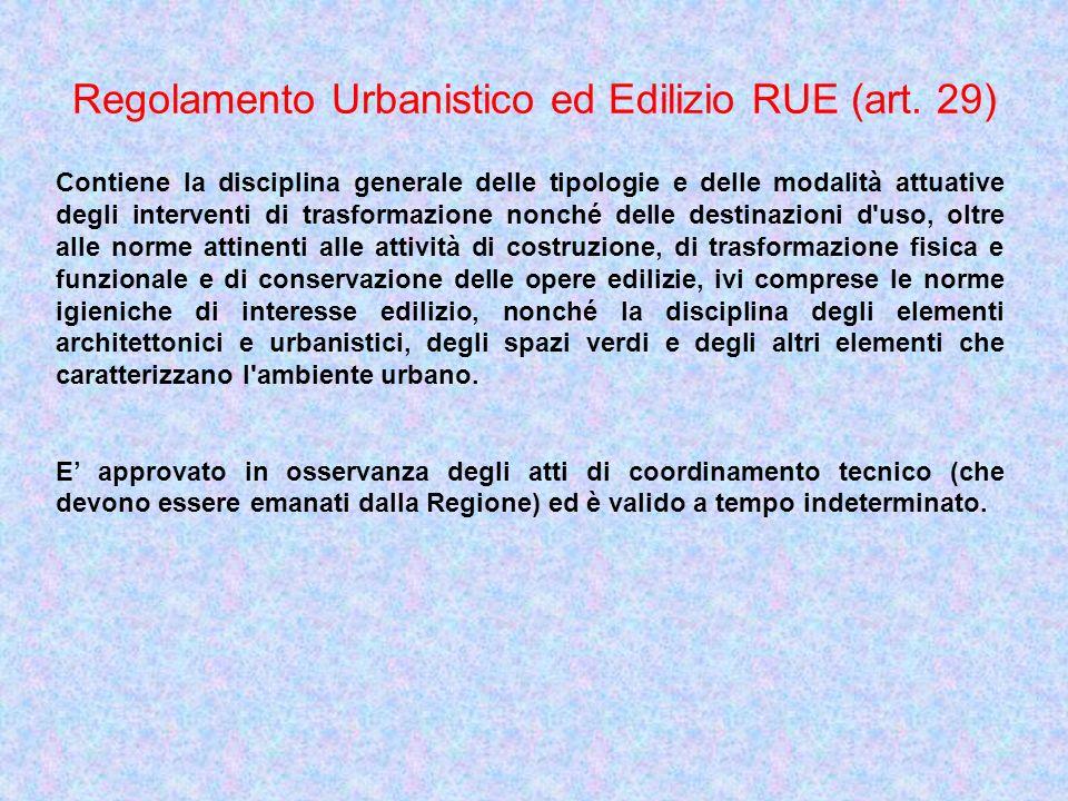 Regolamento Urbanistico ed Edilizio RUE (art. 29) Contiene la disciplina generale delle tipologie e delle modalità attuative degli interventi di trasf