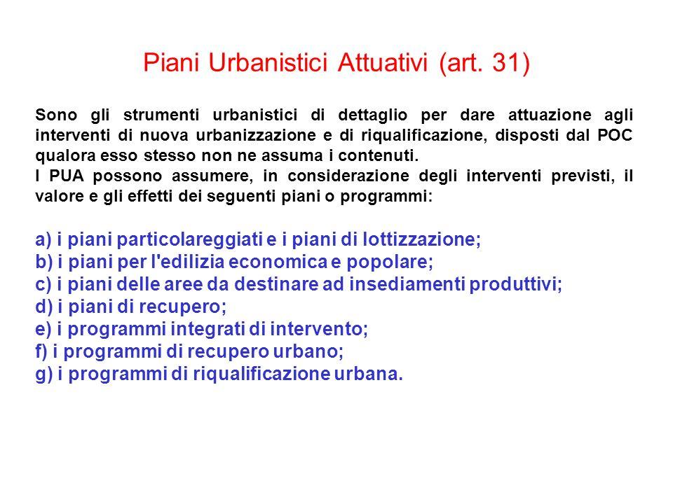 Piani Urbanistici Attuativi (art. 31) Sono gli strumenti urbanistici di dettaglio per dare attuazione agli interventi di nuova urbanizzazione e di riq