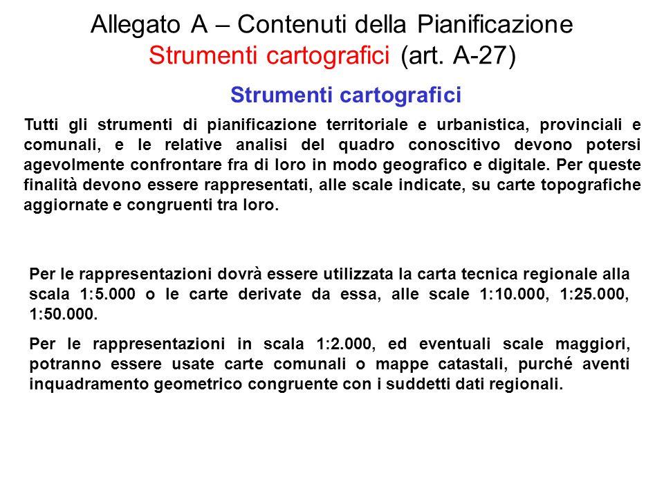 Allegato A – Contenuti della Pianificazione Strumenti cartografici (art. A-27) Strumenti cartografici Tutti gli strumenti di pianificazione territoria