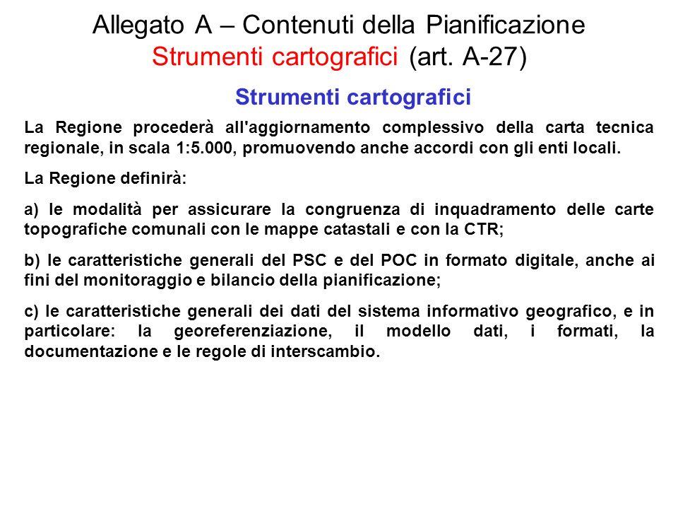Allegato A – Contenuti della Pianificazione Strumenti cartografici (art. A-27) Strumenti cartografici La Regione procederà all'aggiornamento complessi