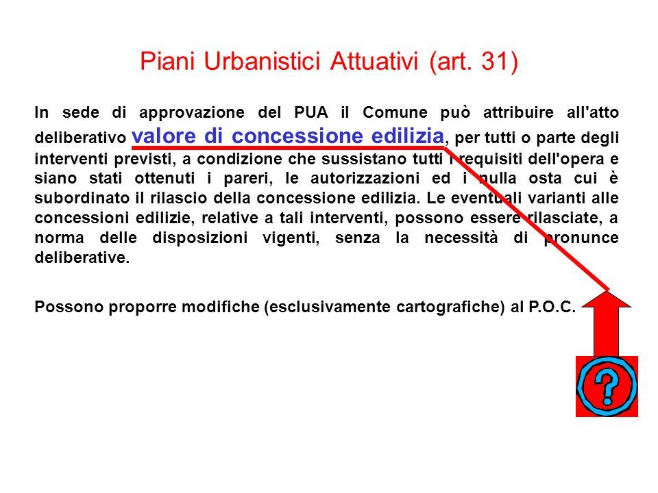 Piani Urbanistici Attuativi (art. 31) In sede di approvazione del PUA il Comune può attribuire all'atto deliberativo valore di concessione edilizia, p