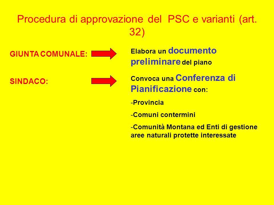 Procedura di approvazione del PSC e varianti (art. 32) GIUNTA COMUNALE: Elabora un documento preliminare del piano SINDACO: Convoca una Conferenza di