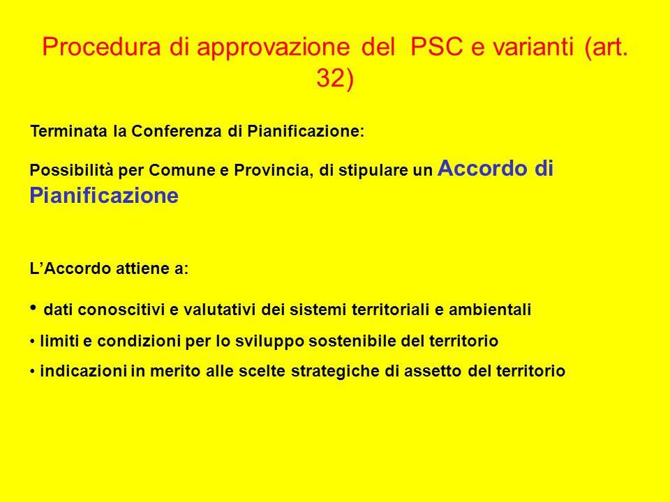 Procedura di approvazione del PSC e varianti (art. 32) Terminata la Conferenza di Pianificazione: Possibilità per Comune e Provincia, di stipulare un