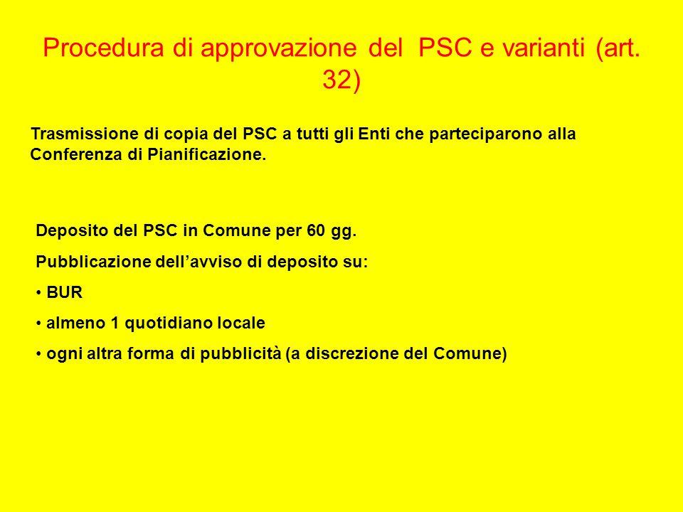 Procedura di approvazione del PSC e varianti (art. 32) Trasmissione di copia del PSC a tutti gli Enti che parteciparono alla Conferenza di Pianificazi