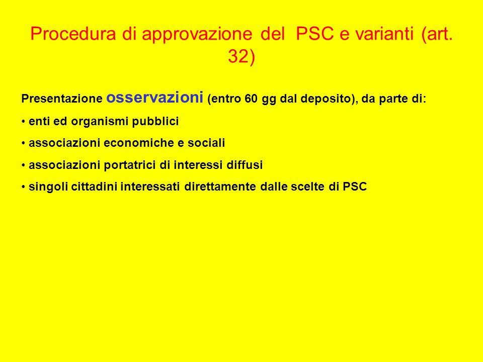 Procedura di approvazione del PSC e varianti (art. 32) Presentazione osservazioni (entro 60 gg dal deposito), da parte di: enti ed organismi pubblici