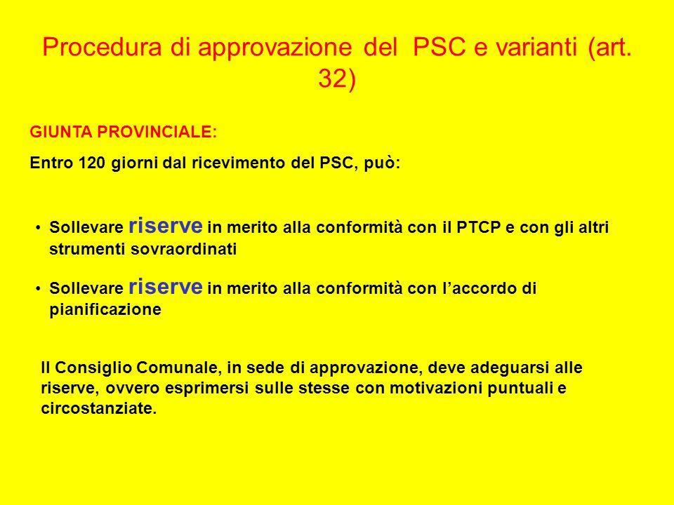 Procedura di approvazione del PSC e varianti (art. 32) GIUNTA PROVINCIALE: Entro 120 giorni dal ricevimento del PSC, può: Sollevare riserve in merito