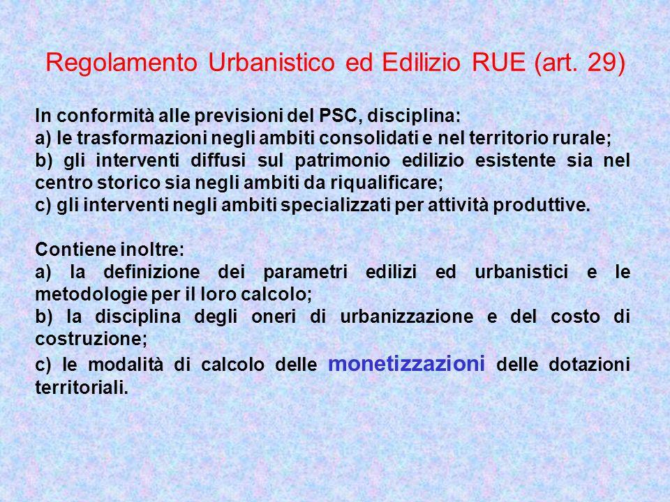 Regolamento Urbanistico ed Edilizio RUE (art. 29) In conformità alle previsioni del PSC, disciplina: a) le trasformazioni negli ambiti consolidati e n