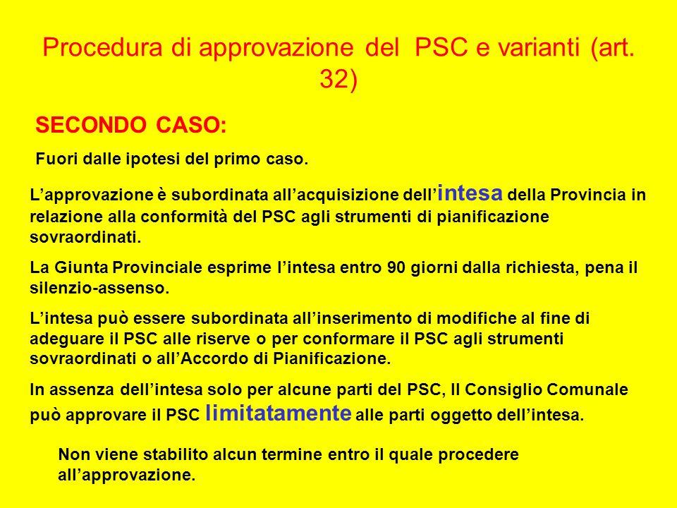 Procedura di approvazione del PSC e varianti (art. 32) SECONDO CASO: Fuori dalle ipotesi del primo caso. Lapprovazione è subordinata allacquisizione d