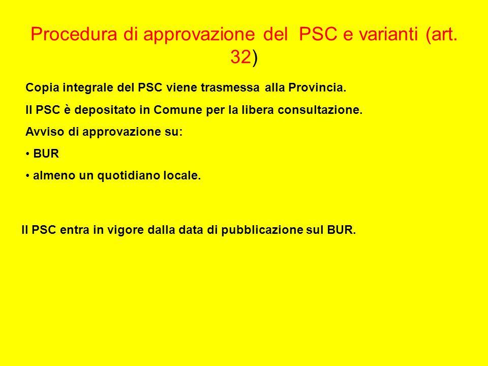 Procedura di approvazione del PSC e varianti (art. 32) Copia integrale del PSC viene trasmessa alla Provincia. Il PSC è depositato in Comune per la li