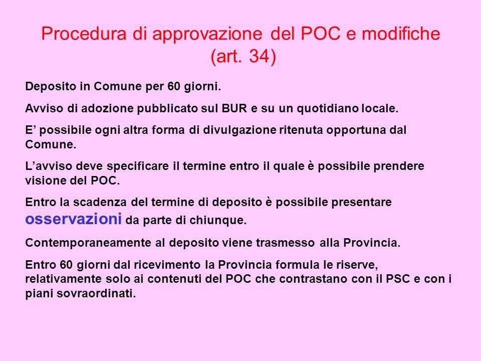 Procedura di approvazione del POC e modifiche (art. 34) Deposito in Comune per 60 giorni. Avviso di adozione pubblicato sul BUR e su un quotidiano loc