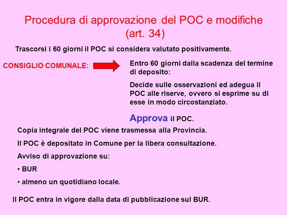 Procedura di approvazione del POC e modifiche (art. 34) Trascorsi i 60 giorni il POC si considera valutato positivamente. CONSIGLIO COMUNALE: Entro 60
