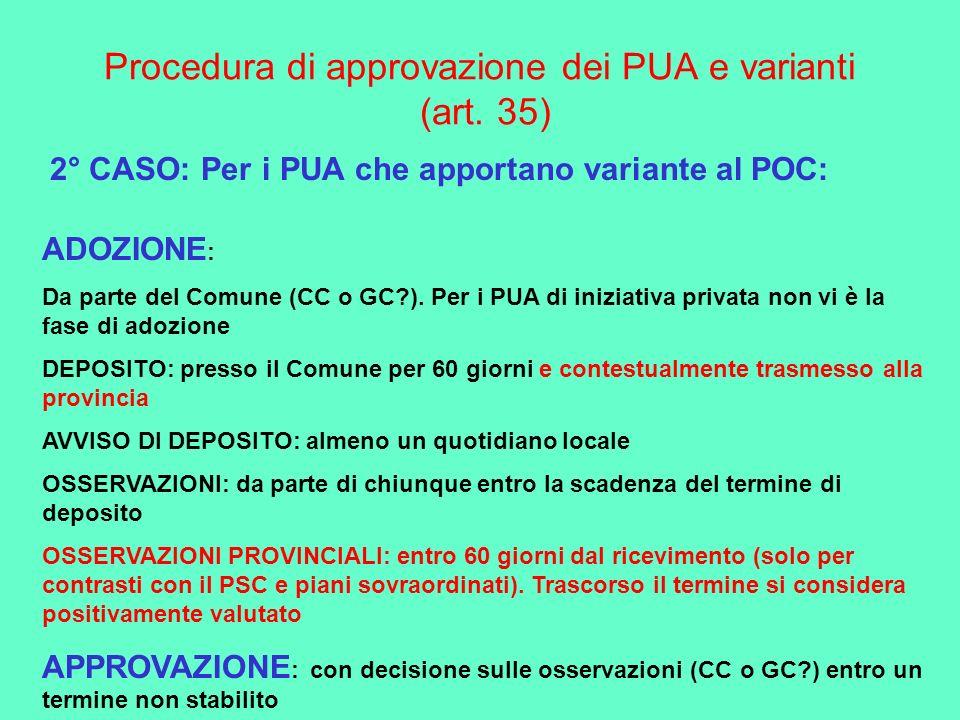 Procedura di approvazione dei PUA e varianti (art. 35) 2° CASO: Per i PUA che apportano variante al POC: ADOZIONE : Da parte del Comune (CC o GC?). Pe