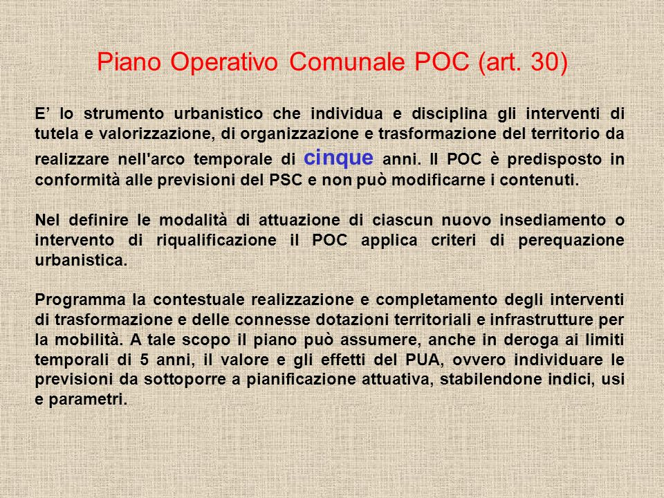 Procedura di approvazione del POC e modifiche (art.