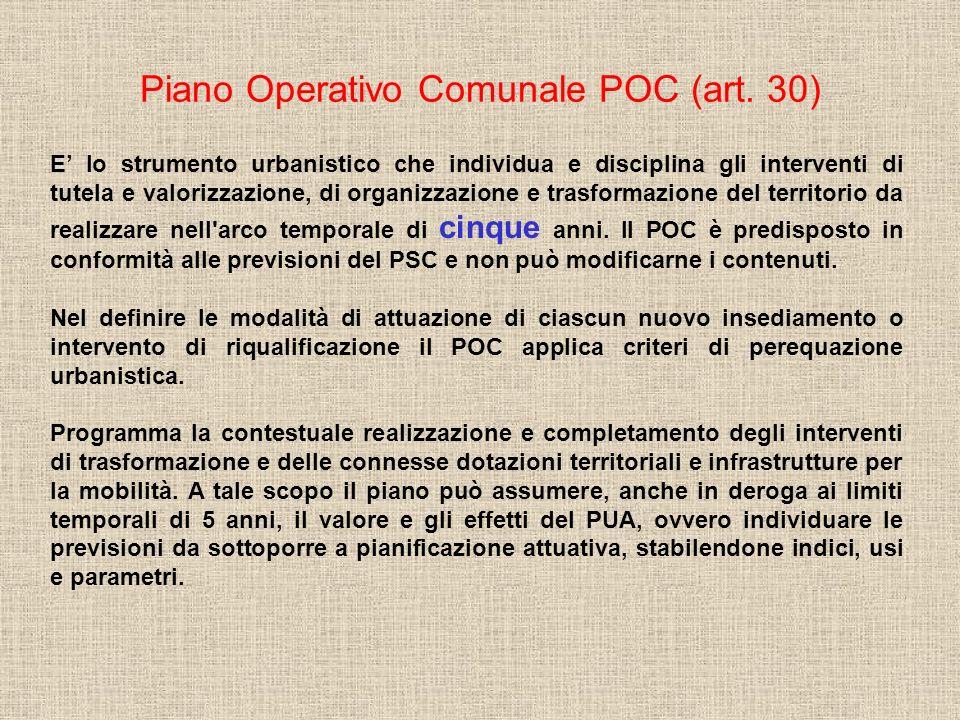Piano Operativo Comunale POC (art. 30) E lo strumento urbanistico che individua e disciplina gli interventi di tutela e valorizzazione, di organizzazi