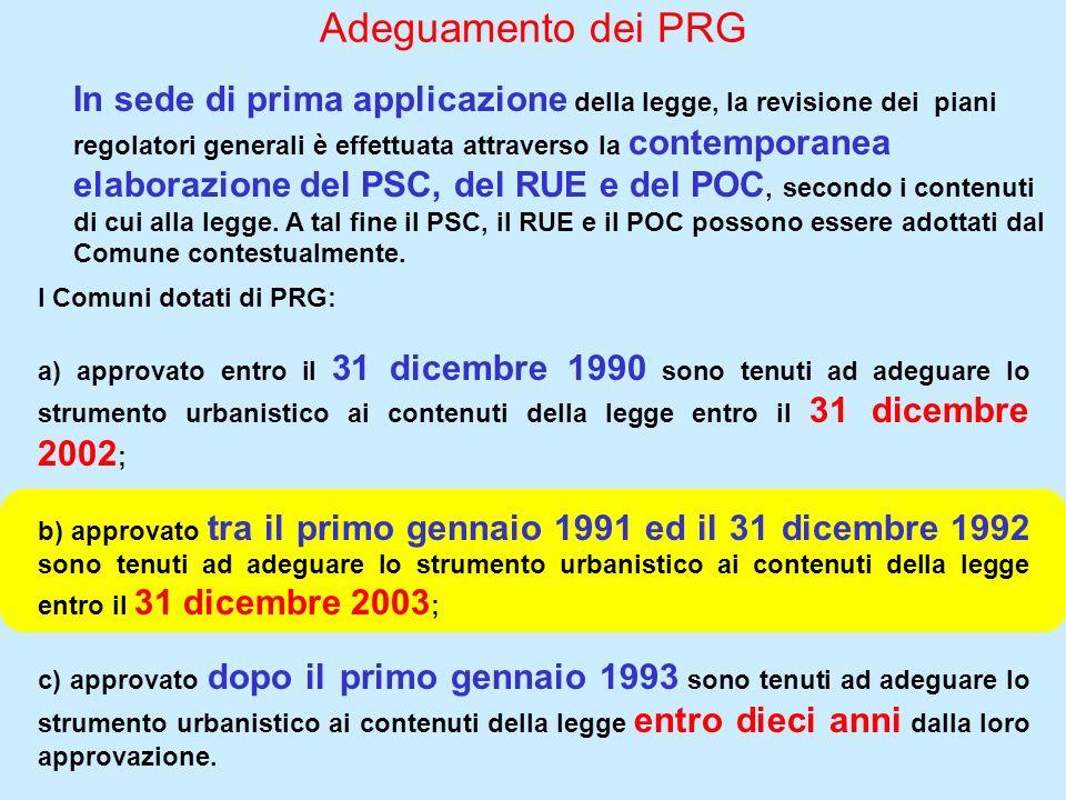 Adeguamento dei PRG In sede di prima applicazione della legge, la revisione dei piani regolatori generali è effettuata attraverso la contemporanea ela