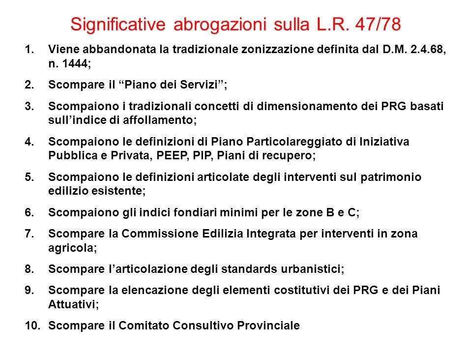 Significative abrogazioni sulla L.R. 47/78 1.Viene abbandonata la tradizionale zonizzazione definita dal D.M. 2.4.68, n. 1444; 2.Scompare il Piano dei