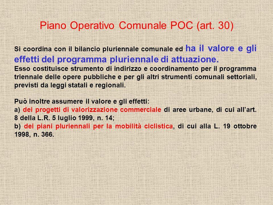 Piano Operativo Comunale POC (art. 30) Si coordina con il bilancio pluriennale comunale ed ha il valore e gli effetti del programma pluriennale di att