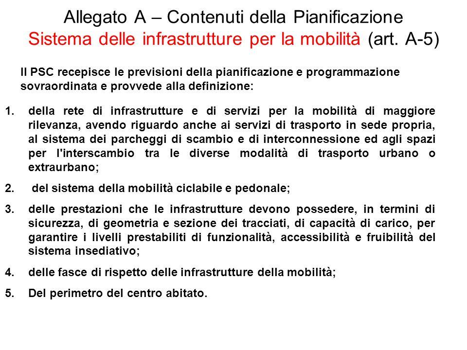 Allegato A – Contenuti della Pianificazione Sistema delle infrastrutture per la mobilità (art. A-5) Il PSC recepisce le previsioni della pianificazion