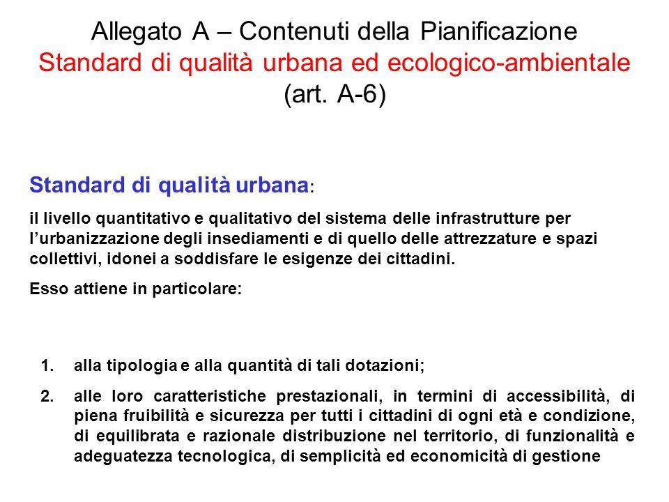 Allegato A – Contenuti della Pianificazione Standard di qualità urbana ed ecologico-ambientale (art. A-6) Standard di qualità urbana : il livello quan