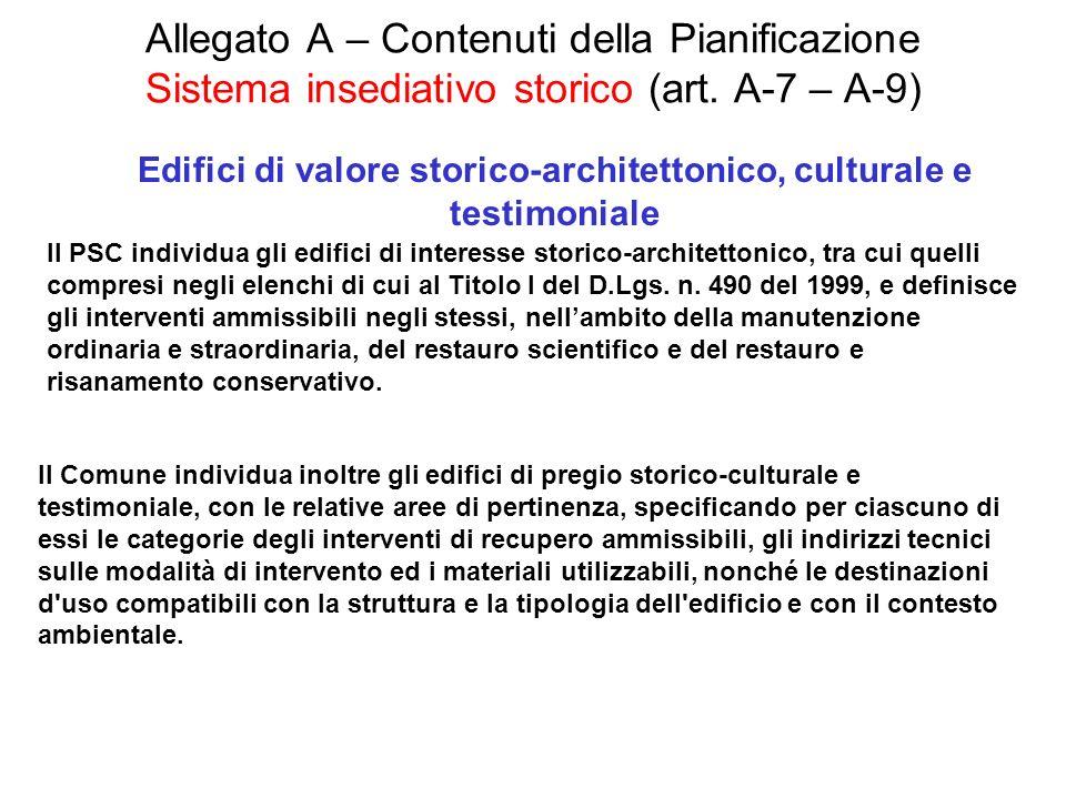 Allegato A – Contenuti della Pianificazione Sistema insediativo storico (art. A-7 – A-9) Edifici di valore storico-architettonico, culturale e testimo