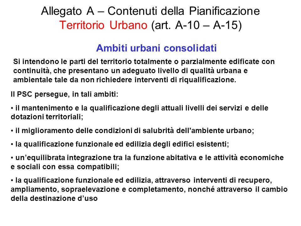 Allegato A – Contenuti della Pianificazione Territorio Urbano (art. A-10 – A-15) Ambiti urbani consolidati Si intendono le parti del territorio totalm
