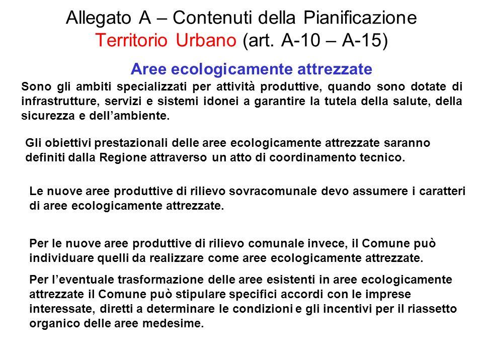 Allegato A – Contenuti della Pianificazione Territorio Urbano (art. A-10 – A-15) Aree ecologicamente attrezzate Sono gli ambiti specializzati per atti