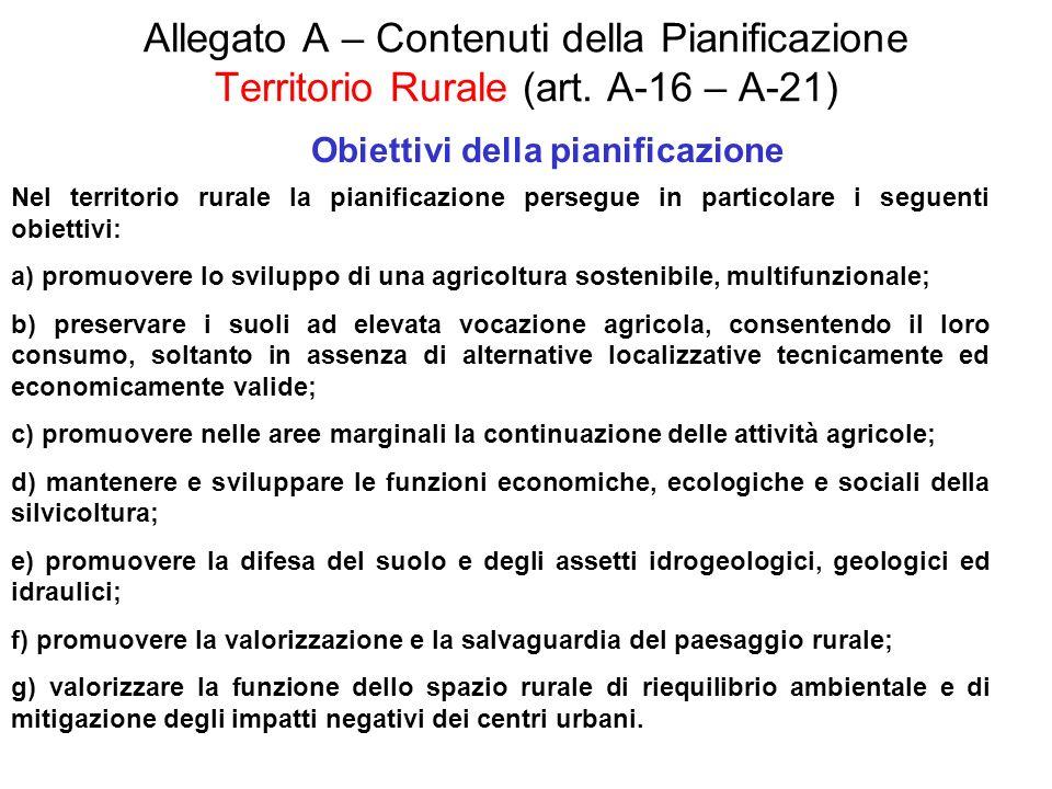 Allegato A – Contenuti della Pianificazione Territorio Rurale (art. A-16 – A-21) Obiettivi della pianificazione Nel territorio rurale la pianificazion