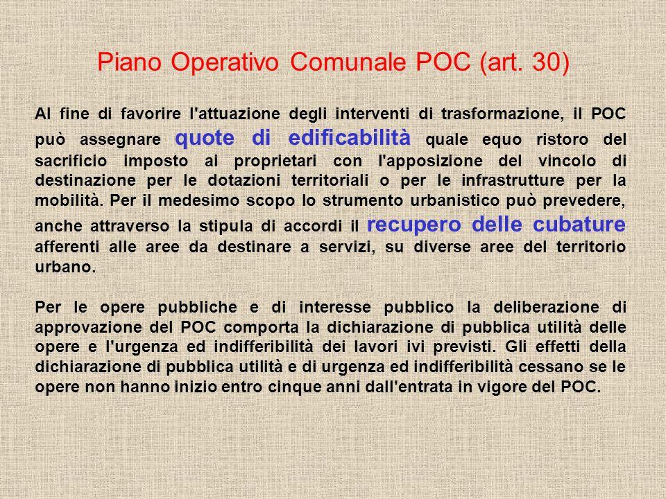 Piano Operativo Comunale POC (art. 30) Al fine di favorire l'attuazione degli interventi di trasformazione, il POC può assegnare quote di edificabilit