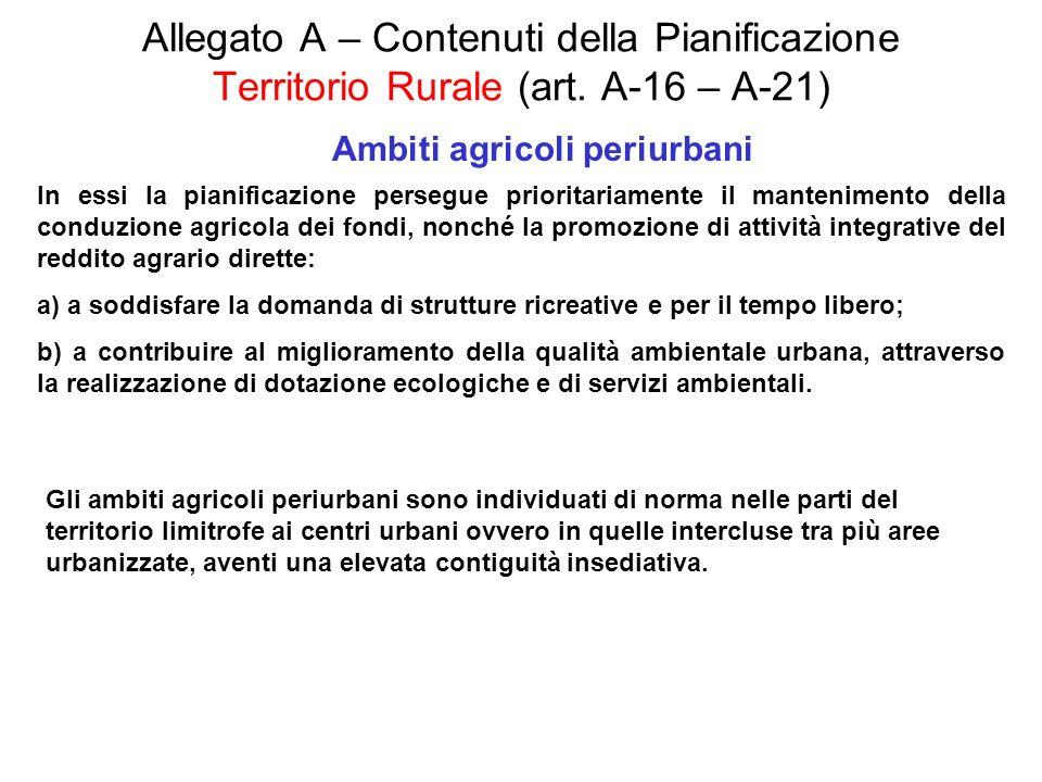 Allegato A – Contenuti della Pianificazione Territorio Rurale (art. A-16 – A-21) Ambiti agricoli periurbani In essi la pianificazione persegue priorit